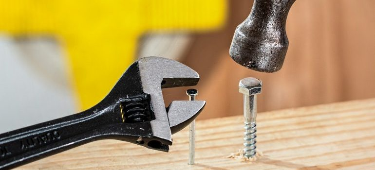 Tools to disassemble furniture when preparing for a move.