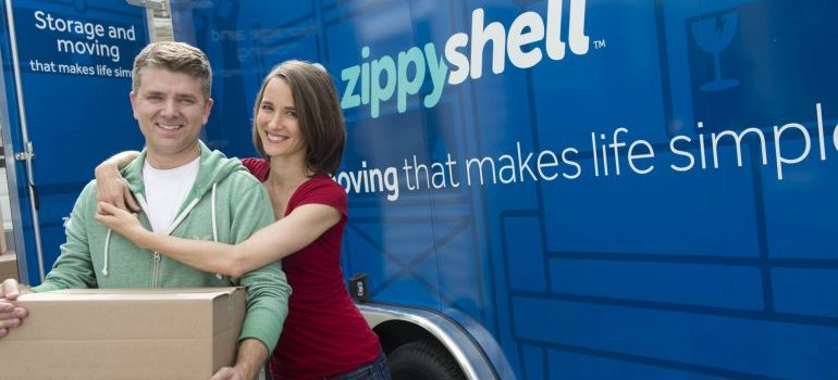 couple moving with zippy shell
