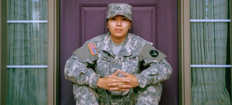 a woman in a military uniform