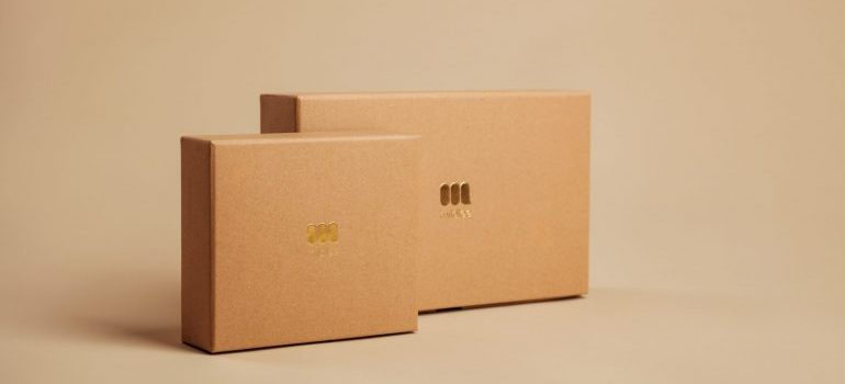 two small cardboard boxes