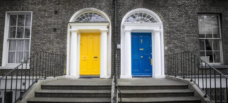 A blue and a yellow door.