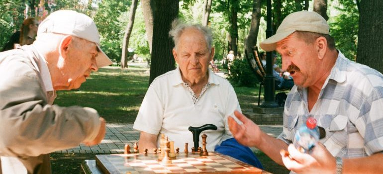 elderly playing chess