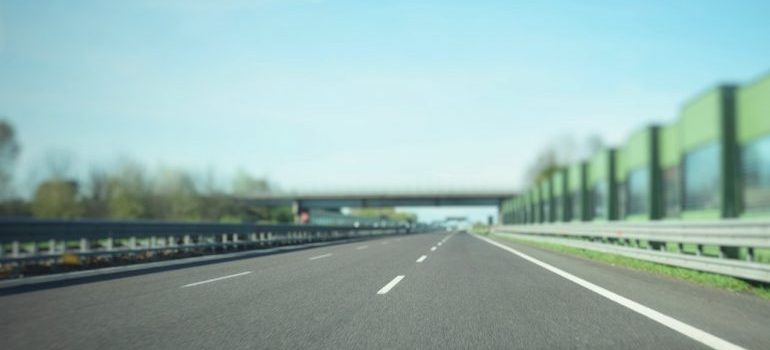 A road-level view of a highway.