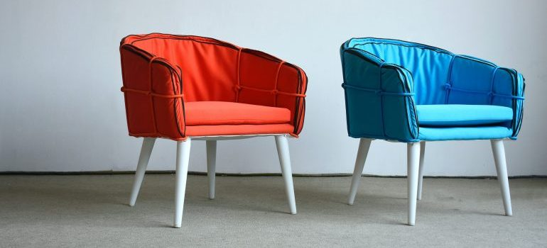 Red and blue armchairs