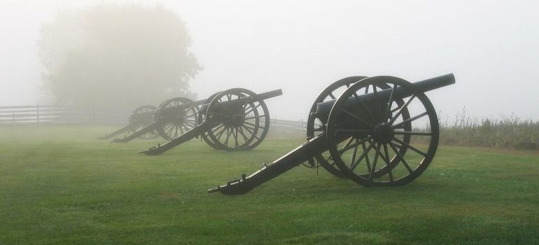 Civil War-era cannons present in Maryland, on a grass lawn.