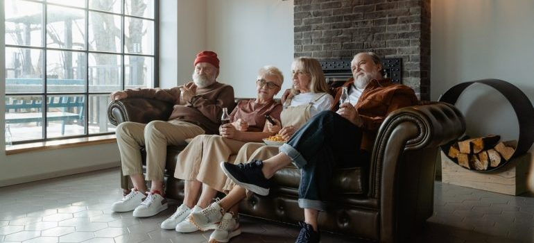 People- itting on a leather couch