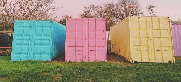 portable storage units in candy colors